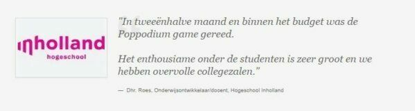 Quote Inholland, gamification en serious gaming met business games in het hoger onderwijs